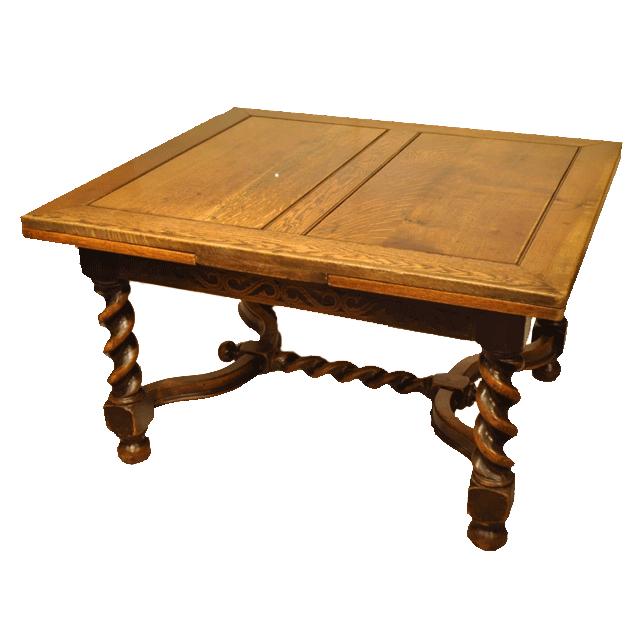 オーク材で作られたツイストレッグのアンティークドローリーフテーブル