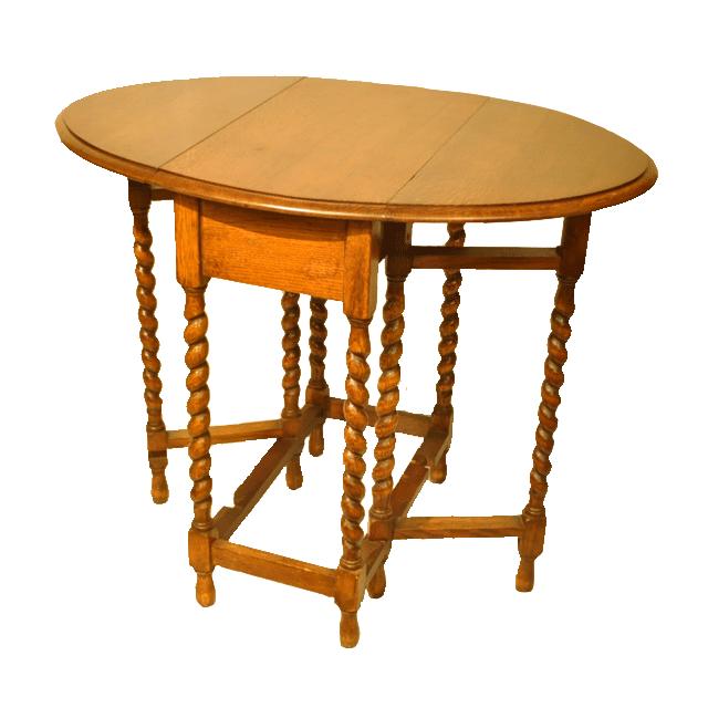 オーク材で作られたツイストレッグのアンティークゲートレッグ(G/LEG)テーブル