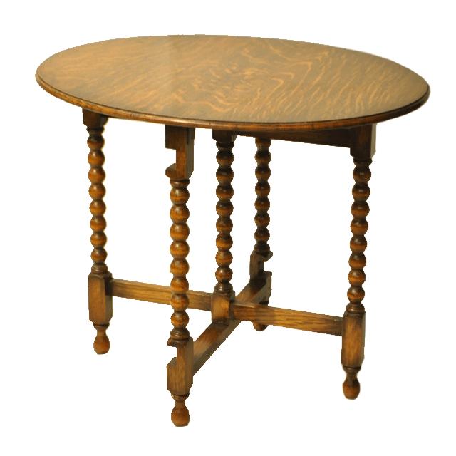 オーク材で作られたボビンレッグのイギリス製アンティークフォールディングテーブル