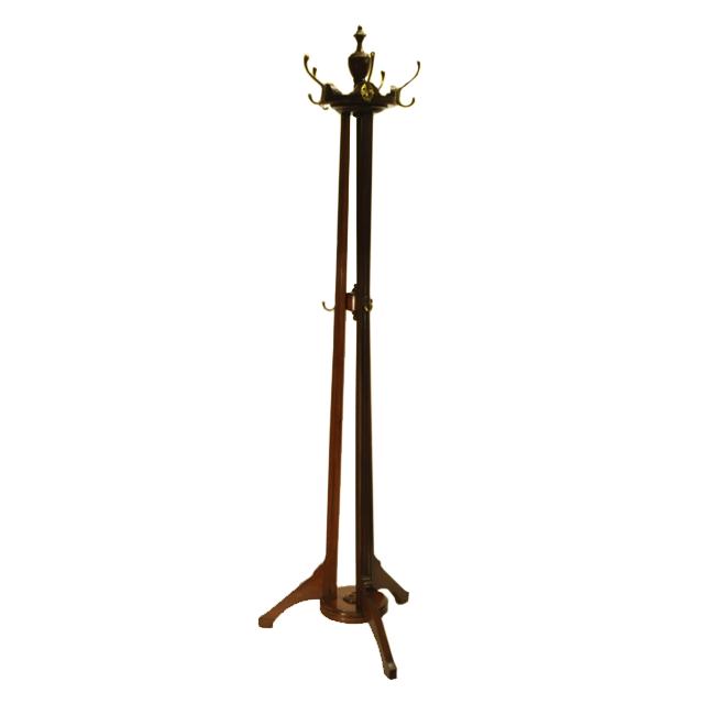 ウォールナットで作られたフックは真鍮のアンティークハットスタンド