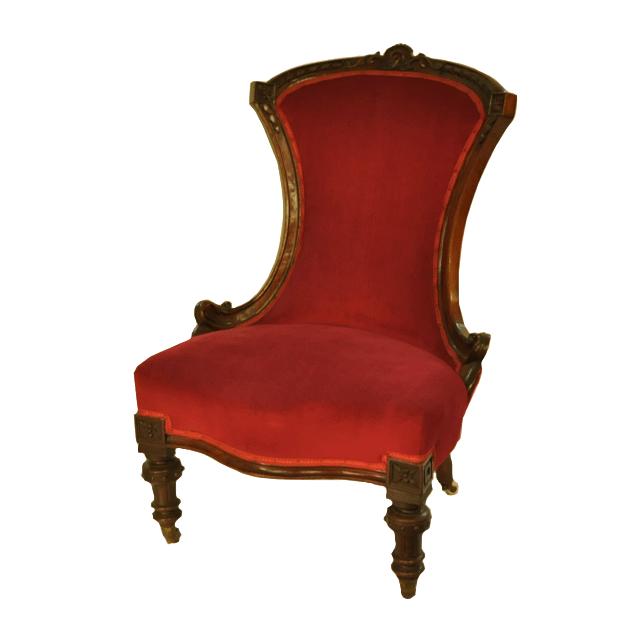 当時妊婦さんや授乳中の方のために造られたイス、赤い生地のナーシングチェア(キャスター付き)