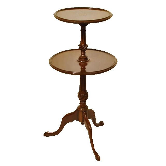 マホガニー材で作られた2段のアンティークワインテーブル(ダムウェイター)