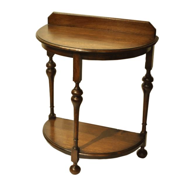 オーク材で作られたイギリス製アンティークハーフムーンコンソールテーブル