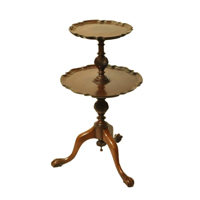 マホガニー材で作られたパイクラストのデザインの天板を持つアンティークワインテーブル(ダムウェイター)