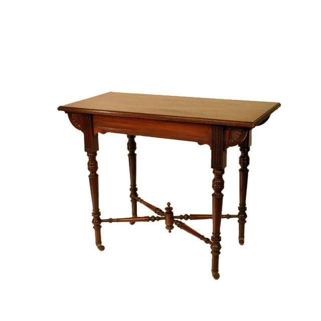 マホガニー材で作られたキャスター付きアンティークホールテーブル