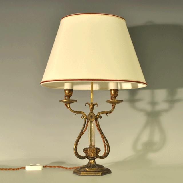 シェード付きブロンズ(青銅)アンティークテーブルランプ