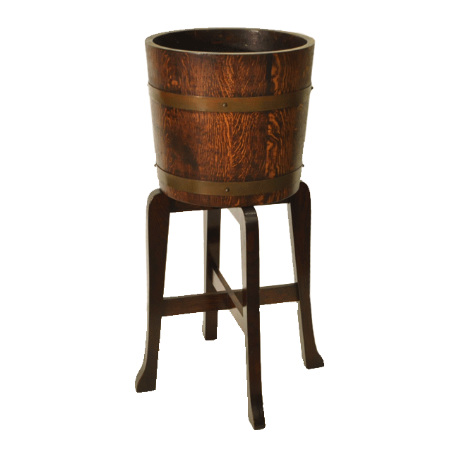 オーク材で作られた樽のような形のアンティークプランタースタンド