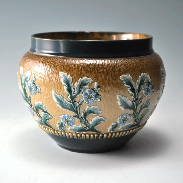 ROYAL DOULTON ロイヤルドルトン社製深みのあるブラウンに植物が鮮やかに描かれた趣あるJARDINIERE(植木鉢)