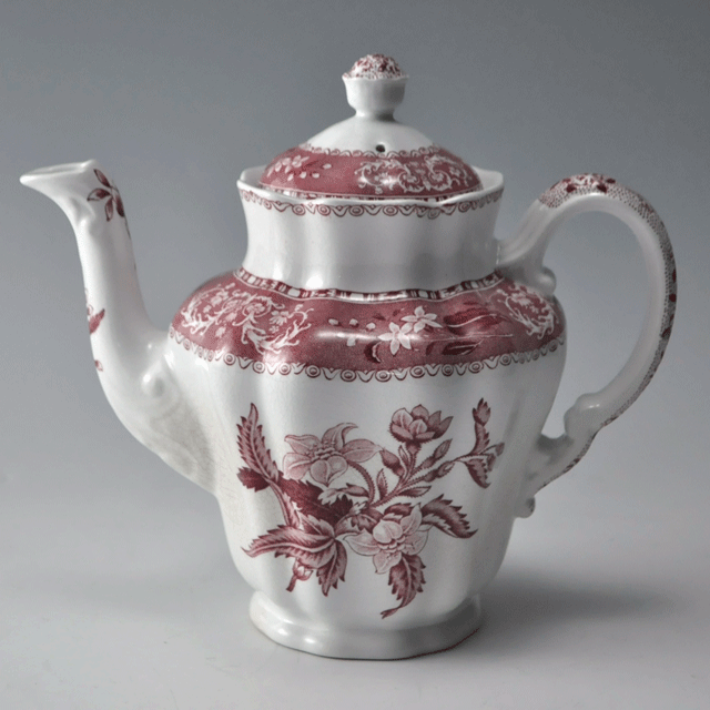 イギリスの陶器ブランドSPODEスポード社製 Pink Camilla(ピンクカミラ) シリーズのアンティークコーヒーポット