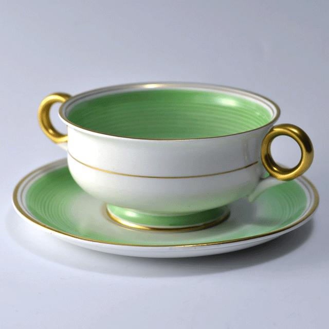 イギリスの陶磁器ブランド、シェリー(Shelly)の緑と金彩が爽やかな印象のアンティークスープカップ&ソーサー