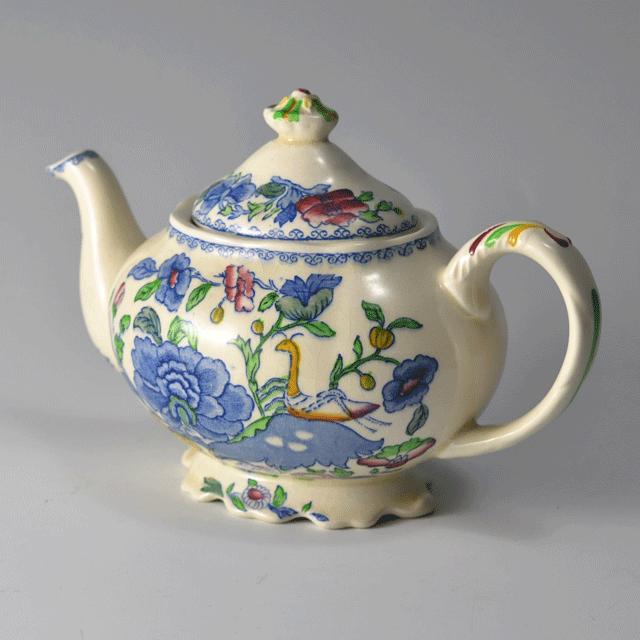 イギリスの老舗陶器ブランドメイソンズ(MASON'S)の鮮やかな色合いのアンティークティーポット