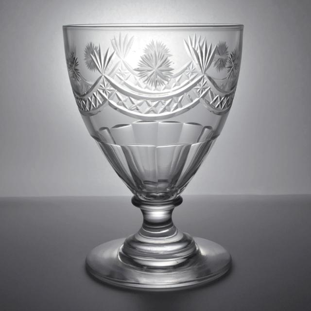 ハンドカットでガーランド模様が装飾されたアンティークゴブレット(ワイングラス)