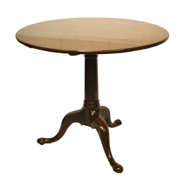 マホガニー材で作られた折りたたみ可能なアンティークトリポッドテーブル