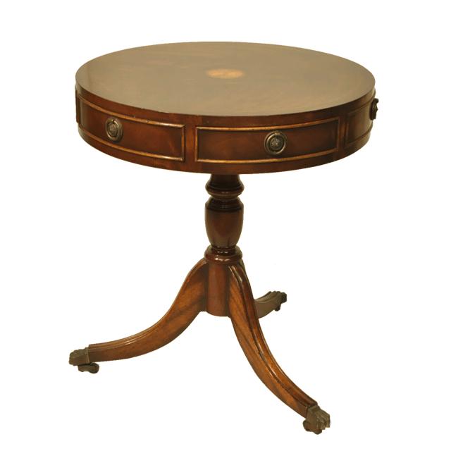 マホガニー材で作られたアンティークドラムテーブル