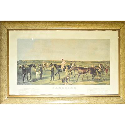 SADDLING  ANTIQUE  PICTURE 競馬 アンティークプリント イギリス 馬