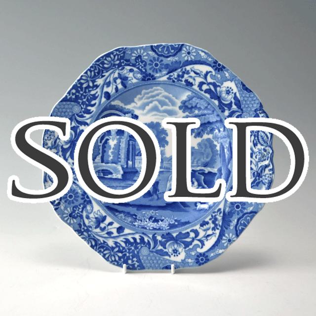 イギリスの陶器ブランドSPODEスポード社製のブルーウィロー(blue willow)シリーズのOctagonal(オクタゴナル)八角形のサンドウィッチプレート