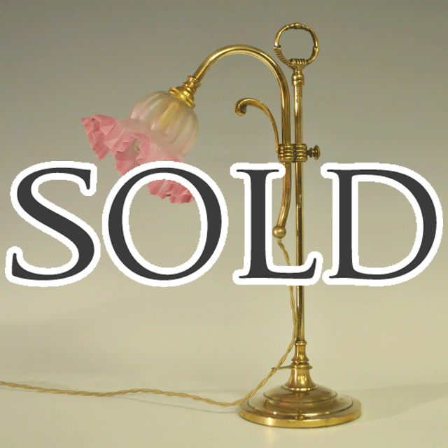 ブラス(真鍮)製ピンクシェード付きアンティークテーブルランプ