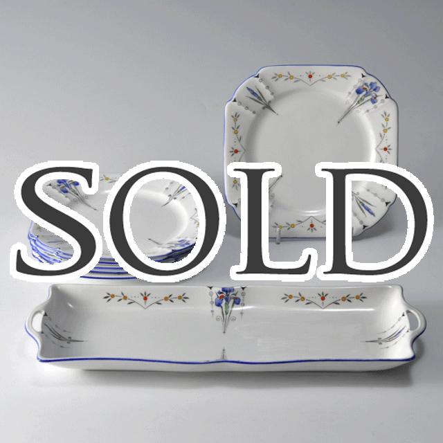 イギリスの名窯シェリーのアンティーク陶磁器、ブルーアイリスサンドウィッチプレート