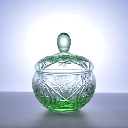 イギリス ガラス パウダーポット