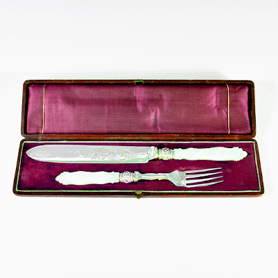 シルバーカトラリー サービングナイフ&フォークセット アンティーク食器